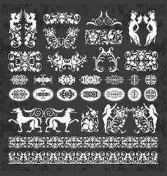 Calligraphic ornaments and elements on chalkboard vector
