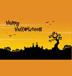 Happy halloween beauty scenery silhouette vector