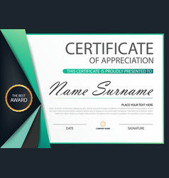 Green label elegance horizontal certificate vector