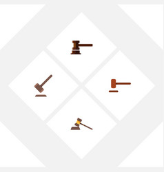 Flat icon hammer set of court government building vector