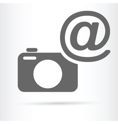 Camera with e mail symbol icon vector