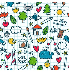 Seamless pattern with cute little drawings in the vector