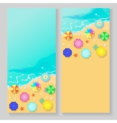 Summer travel banners with beach umbrellas vector