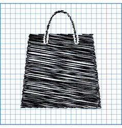 Shopping bag with pen effect on paper vector