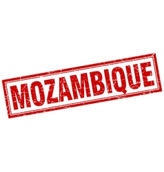Mozambique red square grunge stamp on white vector