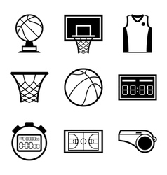 Basketball icon set in flat design style vector