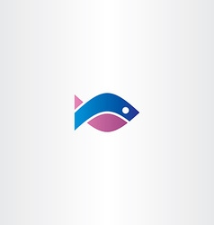blue purple fish icon symbol vector image vector image