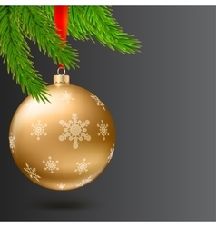 Christmas ball green fir branches on dark vector