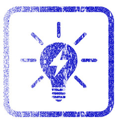 electric light bulb framed textured icon vector image vector image