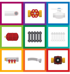 Flat icon industry set of flange corrugated pipe vector