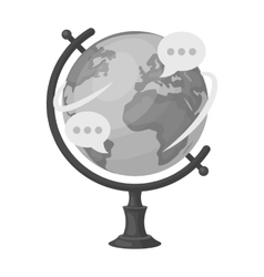 Globe of various languages icon in monochrome vector
