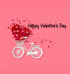 greeting card with bike and air balloons in heart vector image vector image