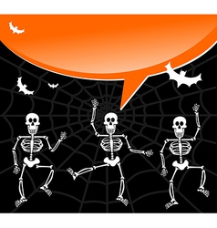 Halloween skeletons with spiderweb and bubble vector image