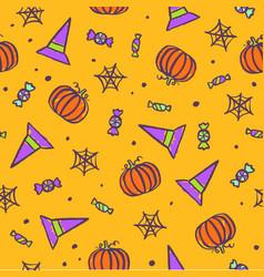 halloween traditional symbols background vector image vector image