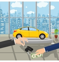Hand gives car keys to another hand vector