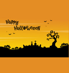 Happy halloween beauty scenery silhouette vector