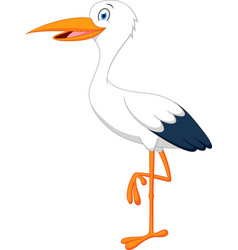 happy stork cartoon vector image
