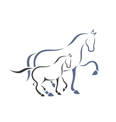 Horse and foal vector
