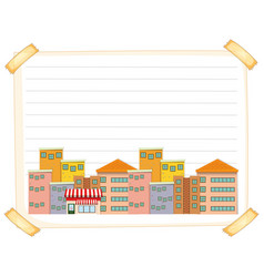 Line paper template with buildings vector