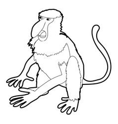 Nasalis monkey icon outline vector
