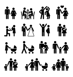 People family icon set Love and life vector image vector image