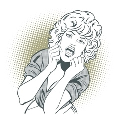 People in retro style girl screams in fear vector