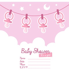 Pink baby shower invitation with pacifiers vector