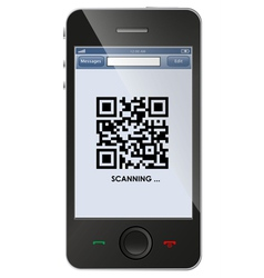 Qr code on smart phone vector
