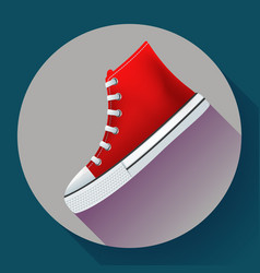 Red sneakers shoes for city running shoe flat vector