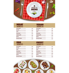 Sandwiches menu poster vector