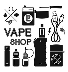 Set of black silhouette icons for vape shop vector