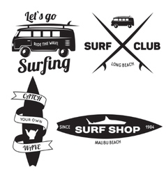 Set of Vintage Surfing Graphics and Emblems for vector image