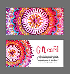 set templates of gift cards with color ornament vector image vector image