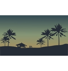 Silhouette of hut in seaside vector image vector image