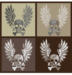 skull and wings in grunge style vector image