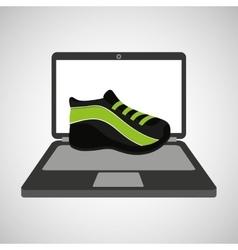sport laptop app concept sneaker run vector image