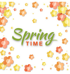 Spring time banner background with paper flowers vector