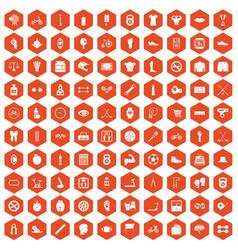 100 kettlebell icons hexagon orange vector