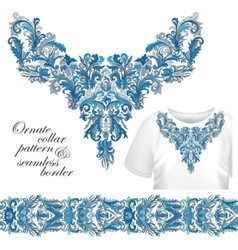 Neckline embroidery fashion print decor lace vector