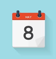May 8 Calendar Flat Daily Icon vector image
