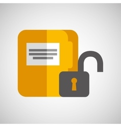 file document folder archive safety padlock vector image
