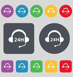 Support 24 hours icon sign a set of 12 colored vector
