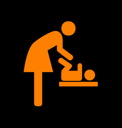 Symbol for women and baby baby changing orange vector