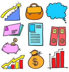 doodle of element business various set vector image