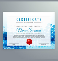 Achievement certificate template with abstract vector