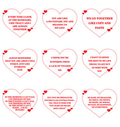 Set of funny love wishes quotes over white vector