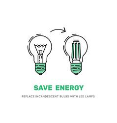 Led energy saving lamp vector