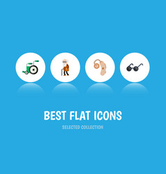 Flat icon handicapped set of equipment audiology vector