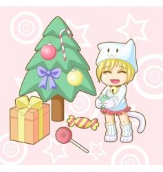 new year white cat kawaii vector image