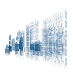 Drawings of skyscrapers and homes vector
